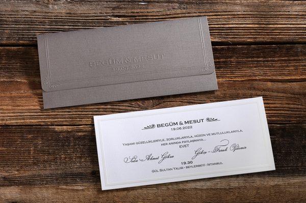 Faire part mariage blanc et gris