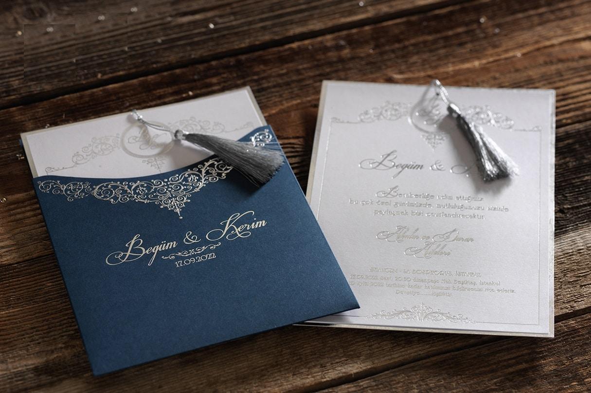 Faire part mariage arabesques bleu et argent