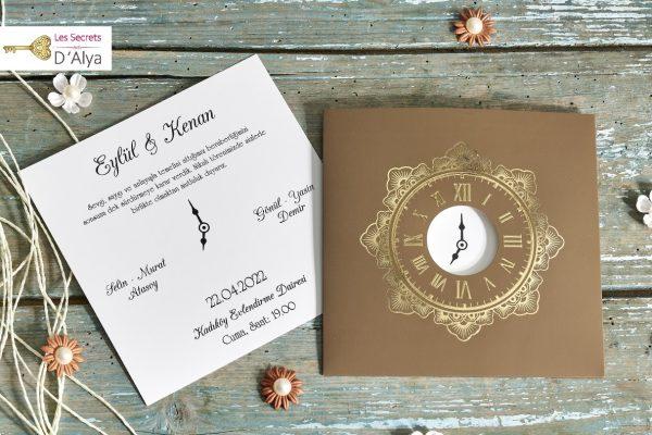 Faire part mariage vintage horloge