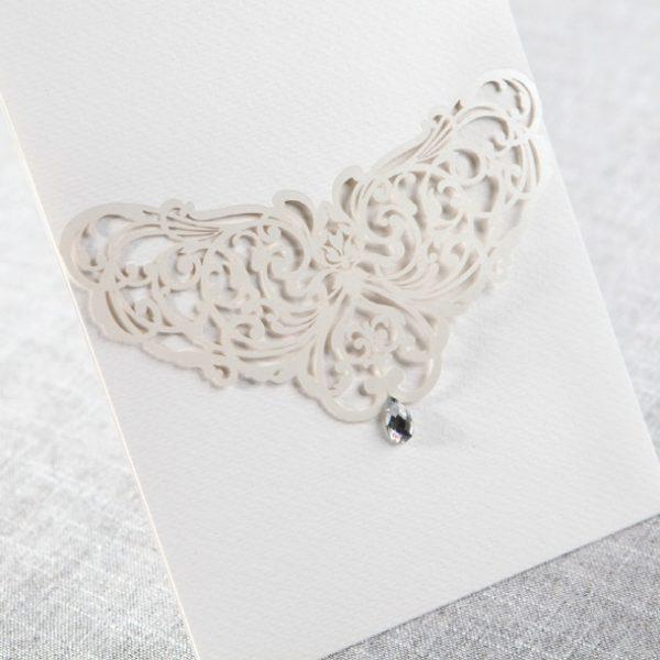 Faire part creatif diamant pochette blanche