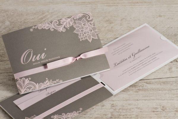 faire part mariage rose et gris