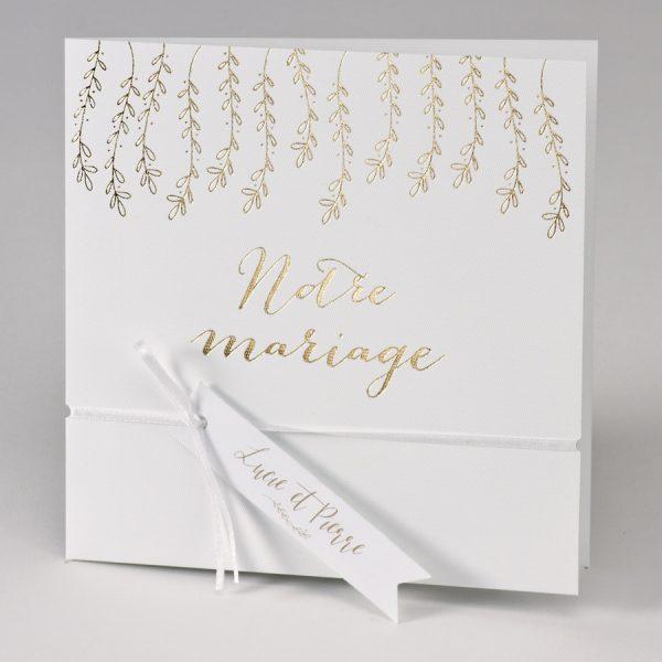 """Faire part """"Notre mariage"""" Blanc et doré"""