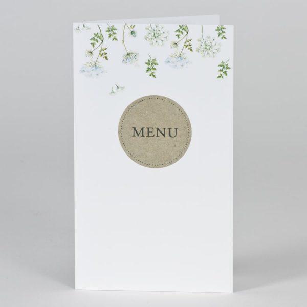 Menu mariage vintage et ses fleurs vertes