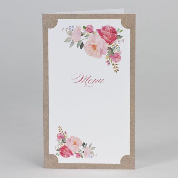 Menu mariage kraft et ses fleurs