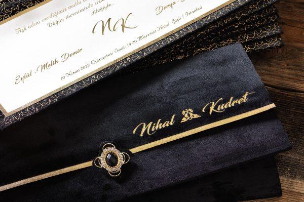 Faire part luxe noir et or